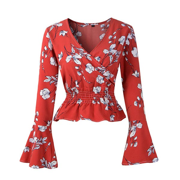 Floral Casual V-neck Ruffles Sleeve Women Blouse - Red
