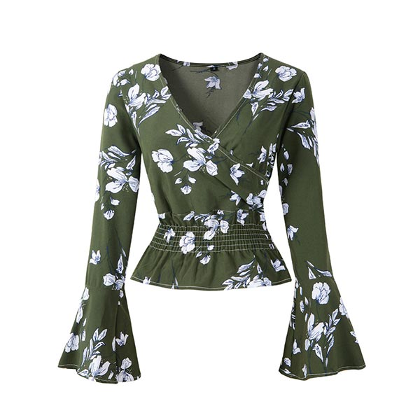Floral Casual V-neck Ruffles Sleeve Women Blouse - Green