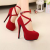 Buckle Closure Cross Strapped High Heel Sandals - Red
