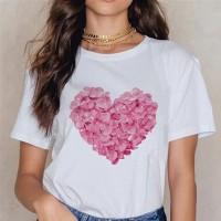 Heart Flower Print Women Casual Short Sleeve T-Shirt Pink