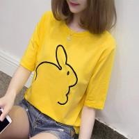 Rabbit Thread Art Round Neck Summer T-Shirt - Yellow
