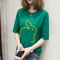 Rabbit Thread Art Round Neck Summer T-Shirt - Green