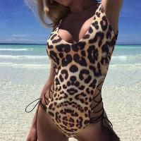 Laced Body Fitted Beach Wear Body Suit - Leopard