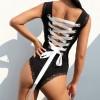 Square Neck Lace Plain Black Slim Swimsuit