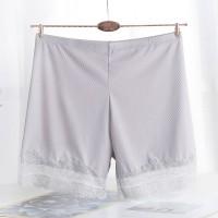 Lace Patched Elastic Waist Elegant Shorts - Gray