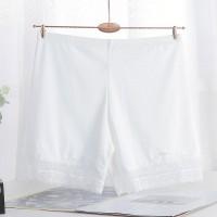 Lace Patched Elastic Waist Elegant Shorts - White