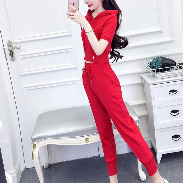 Sports Wear Hoodie Neck Two Pieces Suit - Red