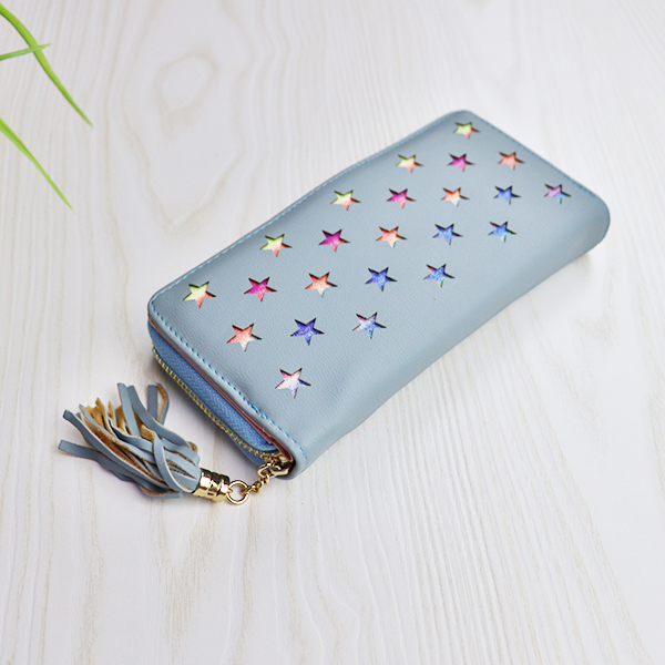 Floral Hollow Texture Tassel Money Wallet - Blue