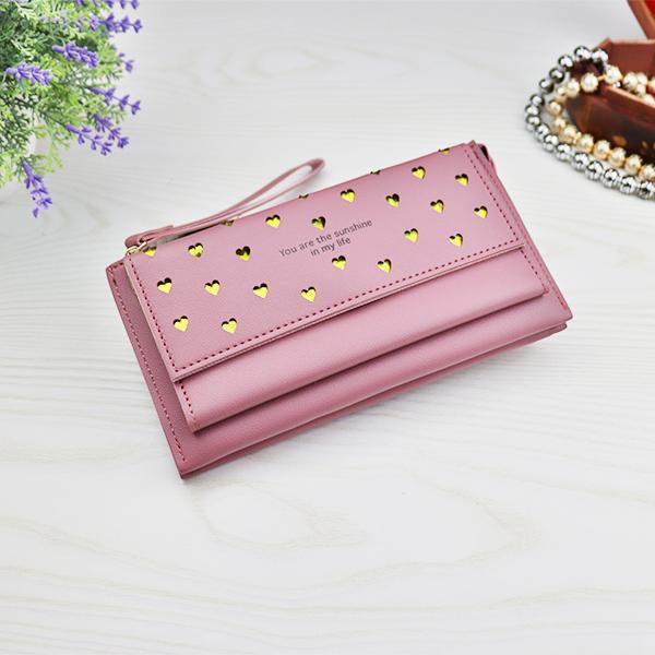 Foldable Heart Hollow Tassel Money Wallet - Pink