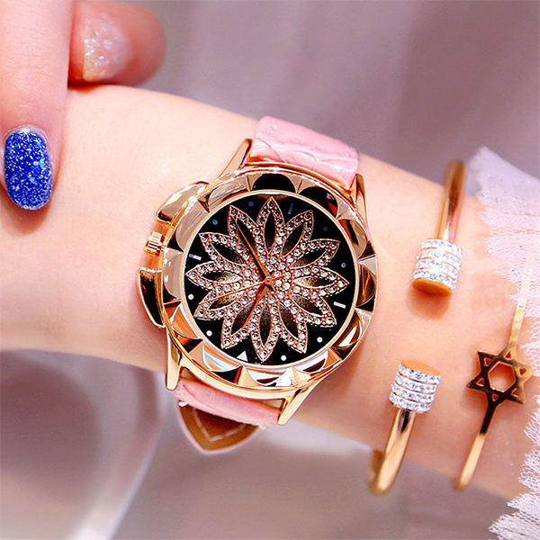 Crystal Floral Dial Luxury Party Wear Watch - Pink