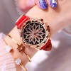 Crystal Floral Dial Luxury Party Wear Watch - Red