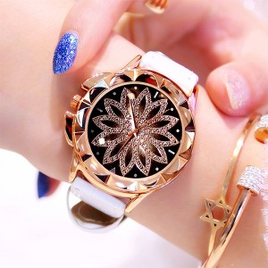Crystal Floral Dial Luxury Party Wear Watch - White