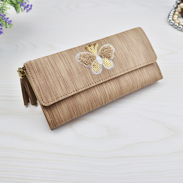 Sequins Butterfly Magnetic Button Wallet - Khaki