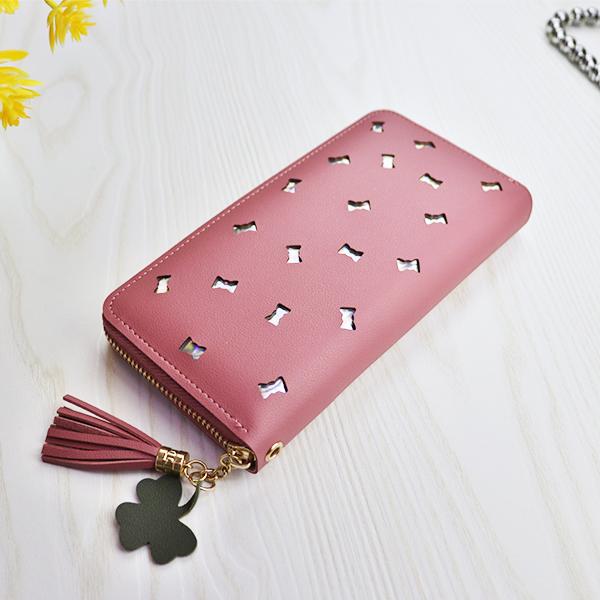 Hollow Bow Zipper Closure Money Wallet - Rose Pink