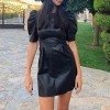 Vintage Faux Leather Half Puff Sleeve Pleated Dress - Black