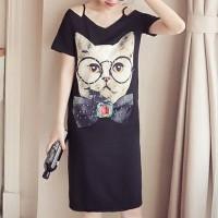 Cat Prints Strap Shoulder Mini T-Shirt Dress - Black