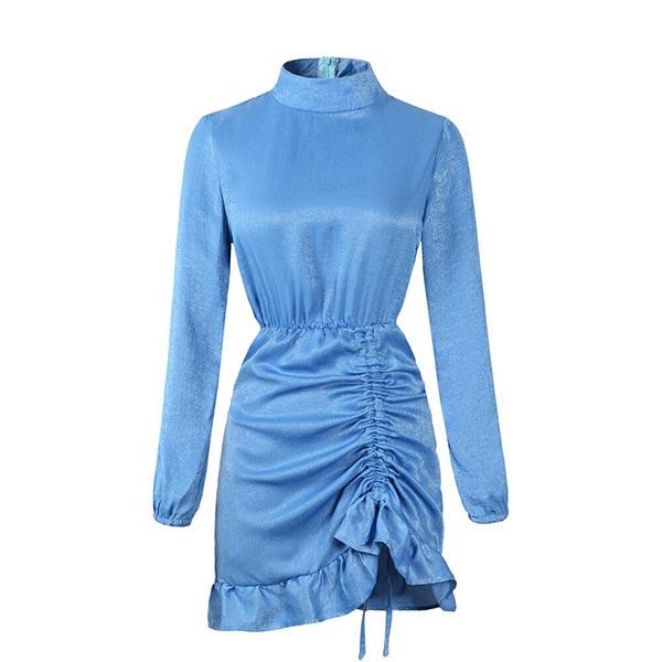 Draped Solid Straight Long Sleeve Bodycon Women Dress - Blue