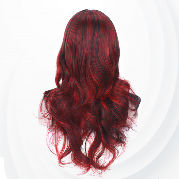 Long Straight Waves Curve End Fake Hairs Wigs - Wine Red