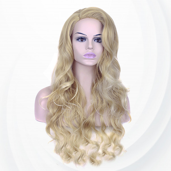 Long Curly Style Curve Waves End Fake Hairs Wigs - Blond