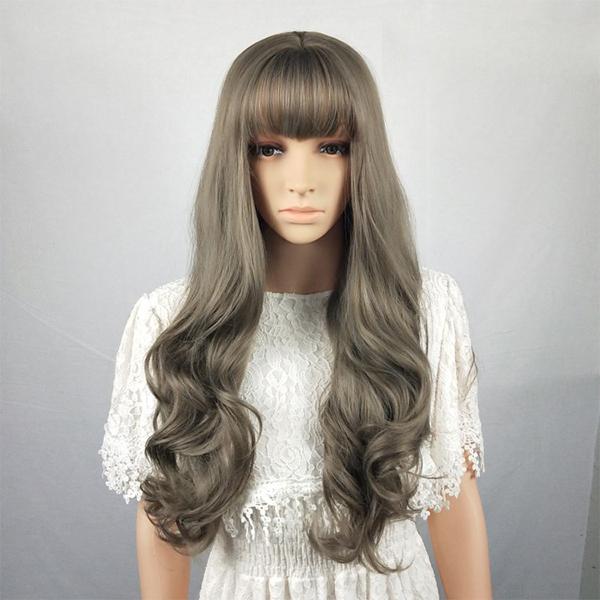 Long Straight Style Curve End Fake Hairs Wigs - Medium Brawn
