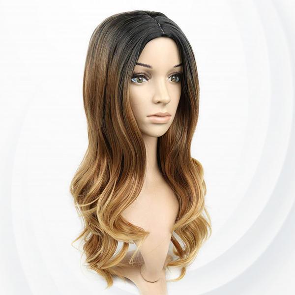 Long Straight Curve End Fake Hairs Wigs - Black Brawn