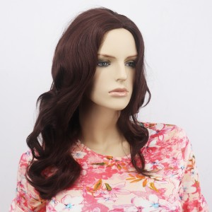 Long Curly Waves End Female Fake Hairs Wigs - Dark Brown