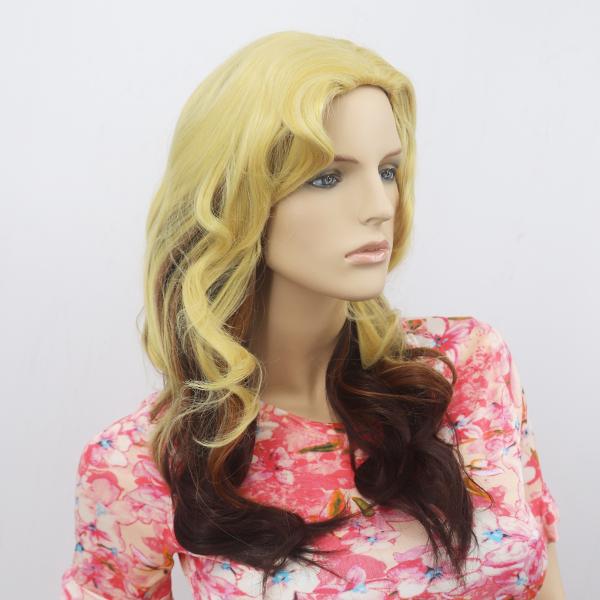 Long Fluffy Realistic Gradient Female Wigs - Light Blond