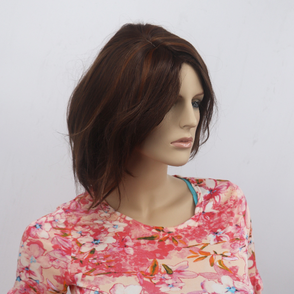 Short Straight Fluffy Realistic Female Wigs - Dark Brown