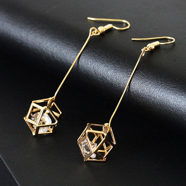 Cubic Crystal Party Wear Earrings - Golden