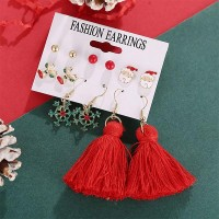 Santa Snowflake Deer Shape 6 Pairs Earring Set - Red