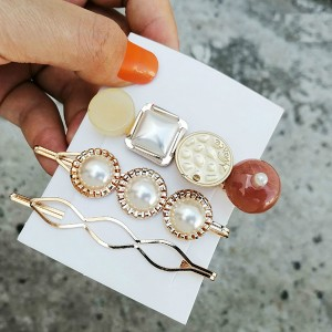 Golden Pearl Three Pieces Party Wear Hair Clips