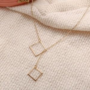 Square Gold Plated Chain Fashion Necklace