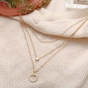 Love Pentagram Pendant Three Layers Retro Necklace - Golden