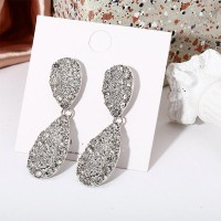 Shiny Pendant Rhinestone Women Jewelry Earrings - Silver