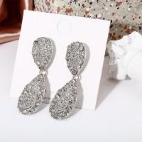 Shiny Pendant Rhinestone Women Jewelry Earrings - Silver