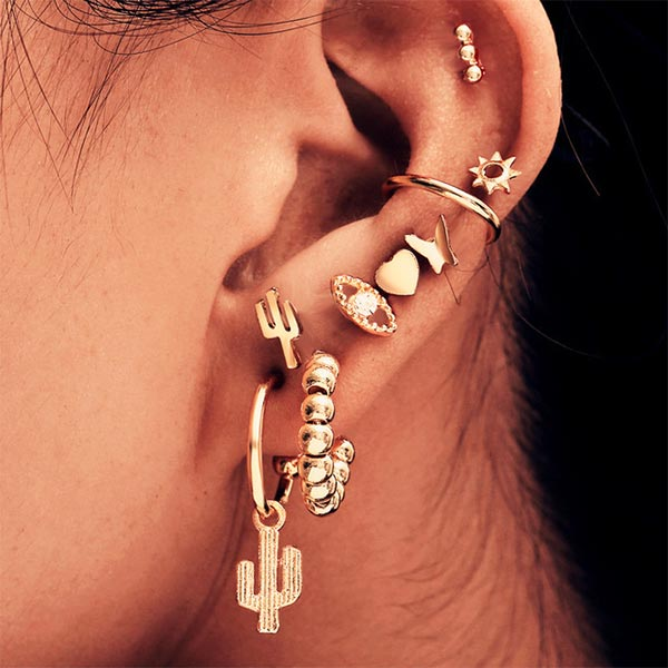 9 Pairs Geometric Tree Bead Women Earrings Set - Golden