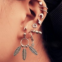 10 Pcs Geometric Leaf Bead Women Earrings Set - Silver