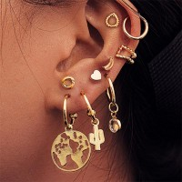 Heart shape Bohemian Multi-element 9Pcs Earring Set - Golden