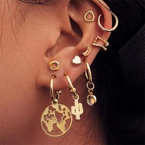 Heart shape Bohemian Multi-element 9Pcs Earring Set - Golden