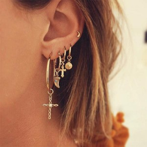5 Pairs Gold Plated Women Fashion Earrings 1 Set - Golden