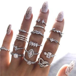 15pcs Vintage Bohemian Geometric Crystal Ring Set - Silver