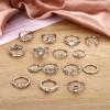 15pcs Vintage Bohemian Geometric Crystal Ring Set - Silver