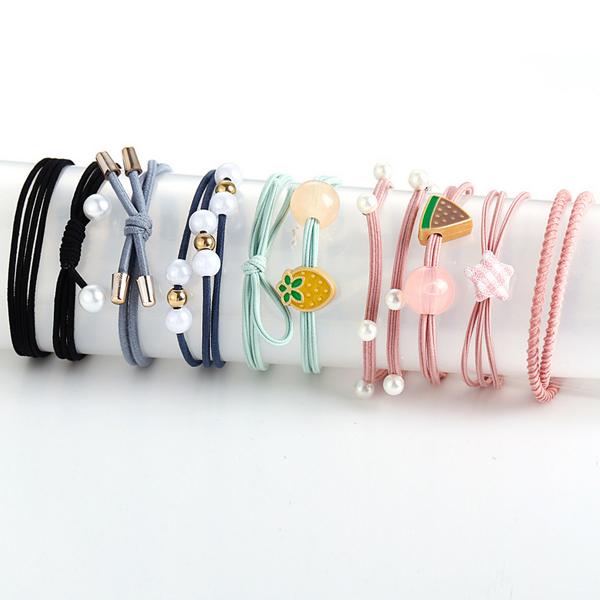 Ten Pieces Pearl Decorative Party Wear Elastic Bands