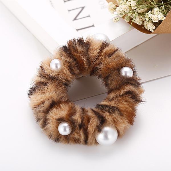 Ultra-butter Rabbit Plush Hair Rope Girl Hair Bands - Brown