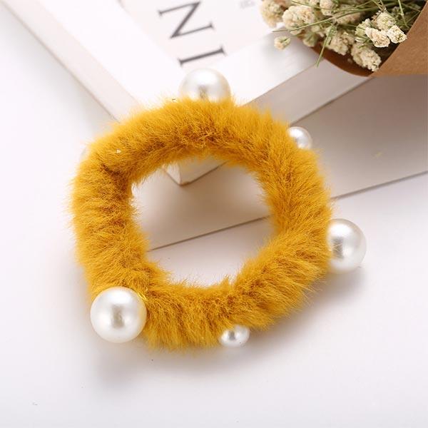 Ultra-butter Rabbit Plush Hair Rope Girl Hair Bands - Yellow