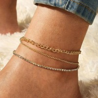 Three Layered Gold Plated Chain Anklet