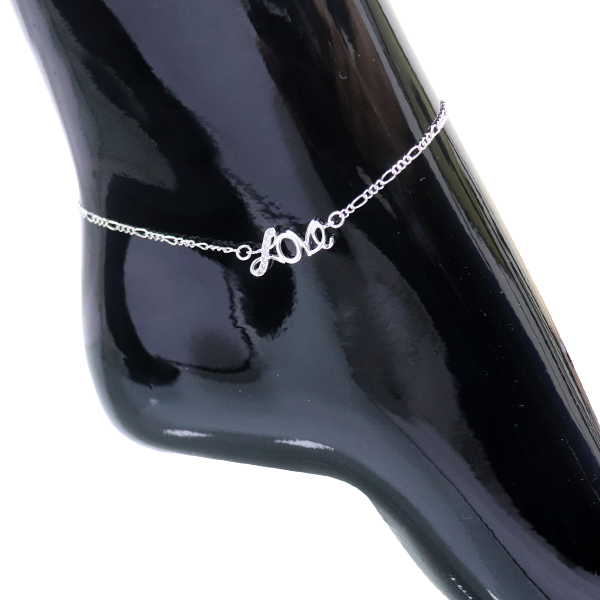 Silver Plated Love Chain Anklet