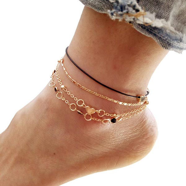 Gold Plated Multi Layers Colorful Beads Anklets - Golden