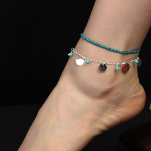 Rhinestone Decorative Chain Anklet - Multicolor