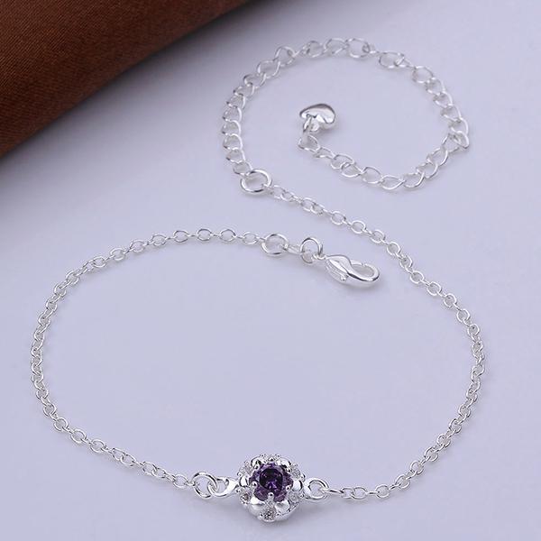 Beautiful New Oval Purple Zircon Silver Anklet